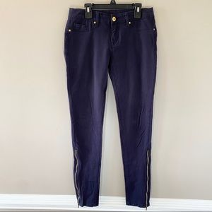 Blank NYC Navy Skinny Jeans with Zippers at Ankles